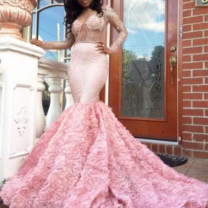 Long Sleeves Beaded Mermaid Prom Dr..