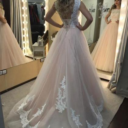 Sheer Lace Neck Champagne Bridal We..