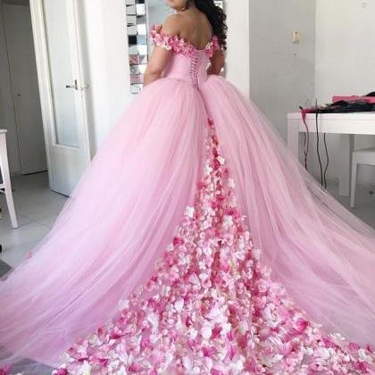 pink wedding dress,floral flower we..