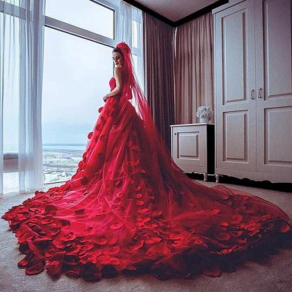Red Wedding Dress, Handmade Flowers..