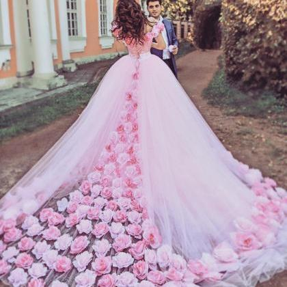 Rose Flower Wedding Dresses Pink We