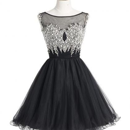 Short Black Tulle Homecoming Dresse..