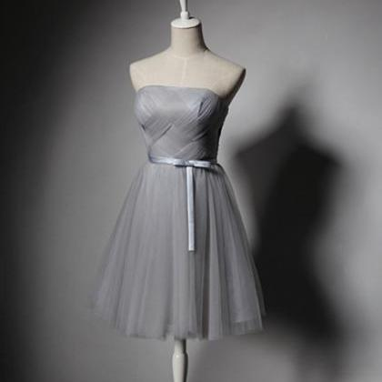 Grey Short Tulle Homecoming Dresses..