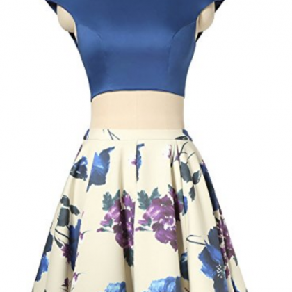 Two Piece Cap Sleeve Halter Midriff..