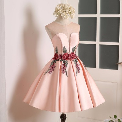 Ball Gown Pink Red Green Satin Scoo..