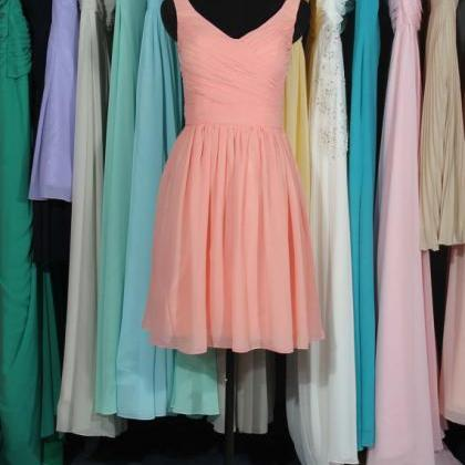 Coral Straps Bridesmaid Dress, Cust..