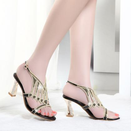 New female diamond in summer sandals with the leather high heels sexy Korean rough heels Free shipping in China for sale clearance low shipping XiNnUTLg