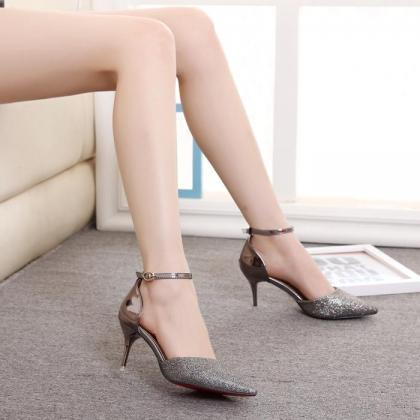Women Mixed Colors Hasp Pointed Toe..