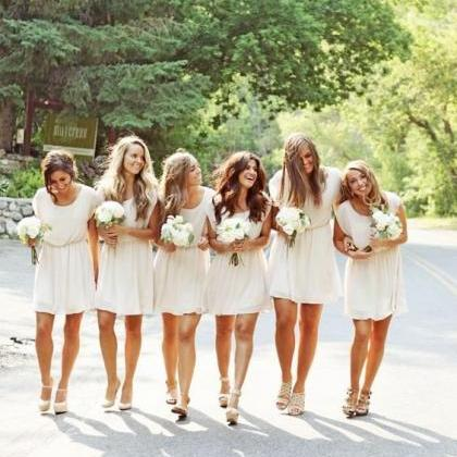white bridesmaid dress,short brides..