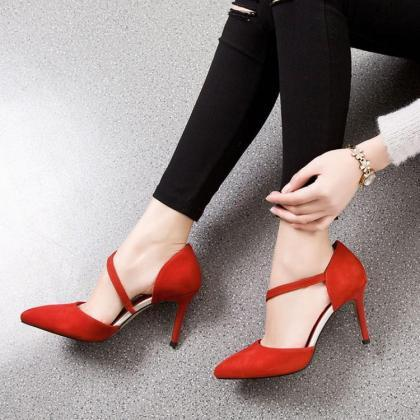 Suede Pointed-Toe Asymmetrical Stra..