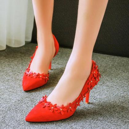 Red Flowers Embellished Pointed Toe..