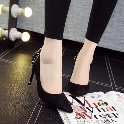 Pumps Women Sexy Rivet Pointed Toe ..