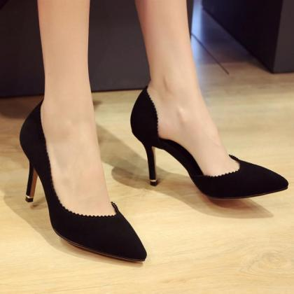 Suede High Heels Women Sexy Pointy ..