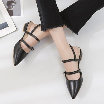 Womens Hasp Pointy Toe Flat Balleri..