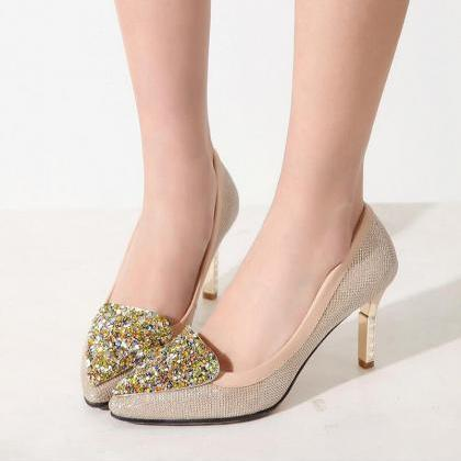 Pumps Heels Women Sexy Sequins Flor..