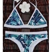 High-Cut Leaf Print Bikini Set - Co..