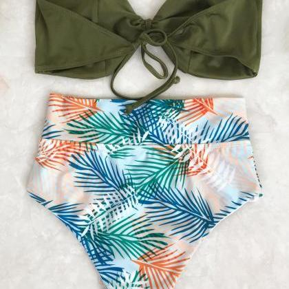Tropical Bandeau High Waisted Bikin..