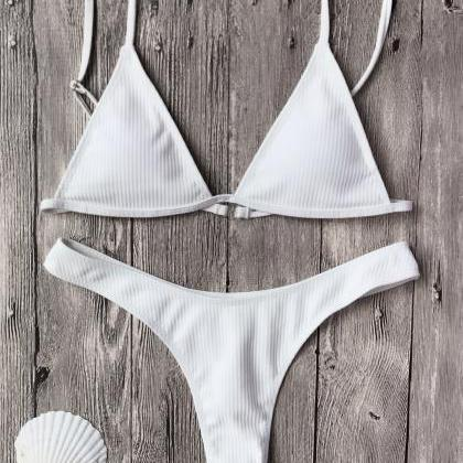 Textured Plunge Bikini Top And Thon..