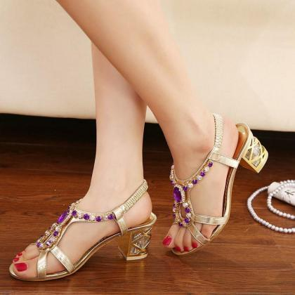 Women's Pure Color Thick Heel Fake ..