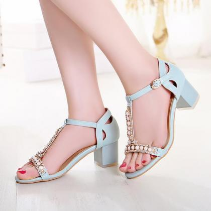 Women's Pure Color Thick Heel Band ..