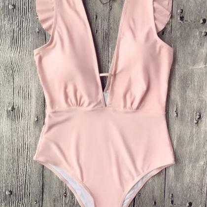 Ruffles Plunging Neck One Piece Swi..