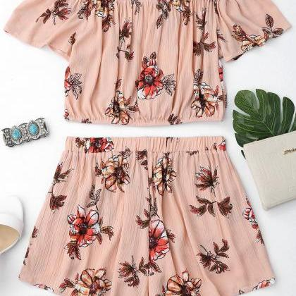 Floral Off Shoulder Ruffles Top And..