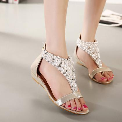 Gorgeous Pearl Beaded Sandals in Go..