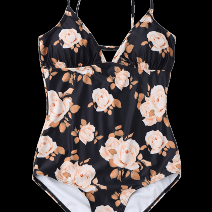 Padded Floral Cami Swimsuit - Black..