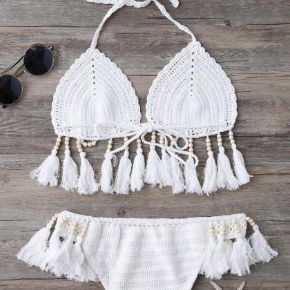 Beads Tassels Crochet Bikini Swimwe..