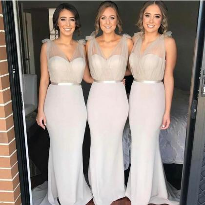 Sheer Straps Mermaid Bridesmaids Dr..