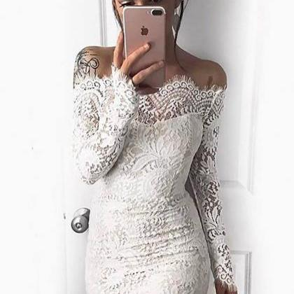 White Lace Sheath Homecoming Dresse..