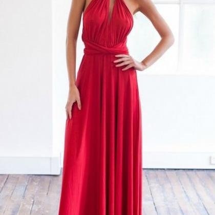 Sexy Red V Neck Goddess Dress