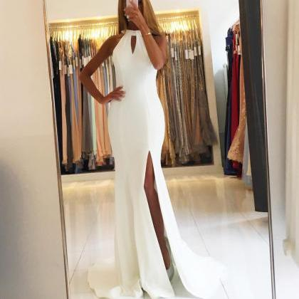 Backless White Chiffon Mermaid Even..