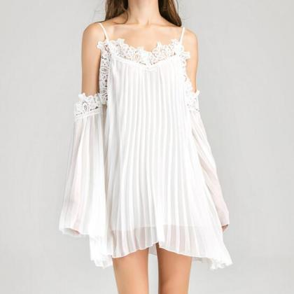 Boho White Lace Cold Shoulder Chiff..
