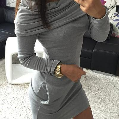 Fashion Long Sleeves Grey Cotton Bl..