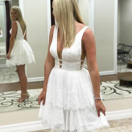 Princess A-line Short White Lace Ho..