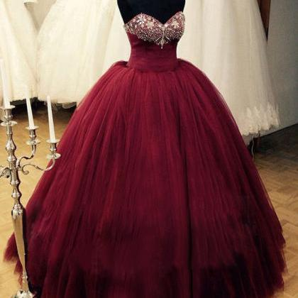 Romantic Burgundy Quinceanera Dress..