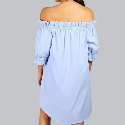 Blue Floral Off Shoulder Ruffle Shi..