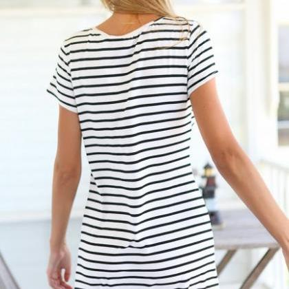 Black White Striped Short T-Shirt D..