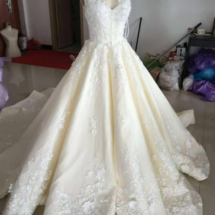 Ball Gown Wedding Dress, V Neck Wed..