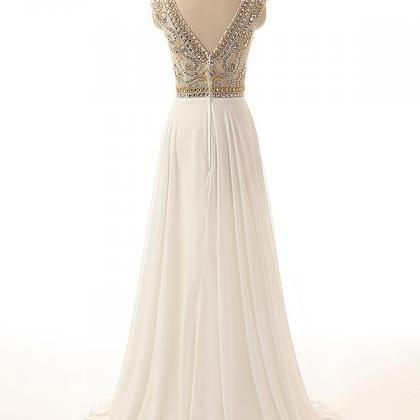 Ivory Crystals Prom Dresses Long Ch..