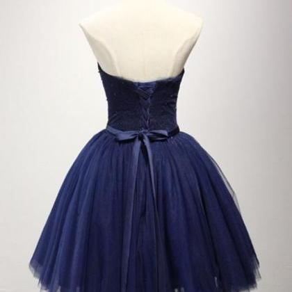 2018 Strapless Navy Blue Tulle A Li..