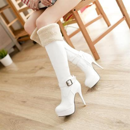 Sexy White Over The Knee High Heel ..