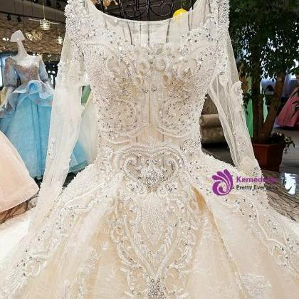wedding dress o-neck full sleeves ..