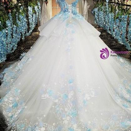ivory wedding dress with blue lace..