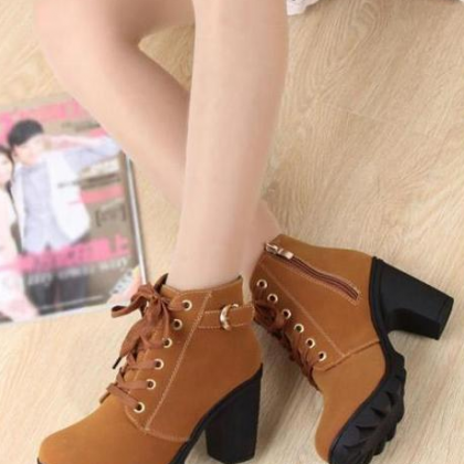 2017 Fashion Women Brown Lace Up Hi..