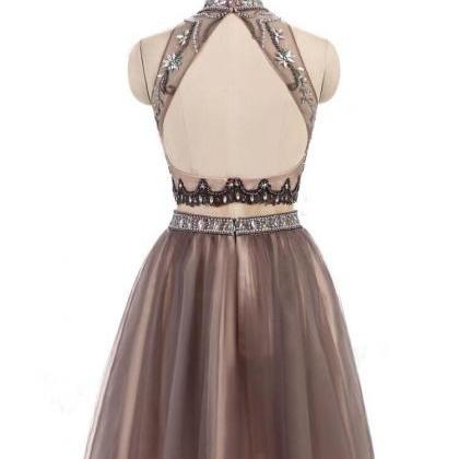 Two Piece Prom Dress,Junior Homecom..