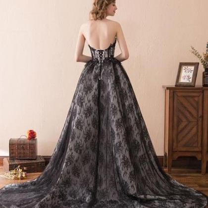 Black tulle lace long prom dress, s..