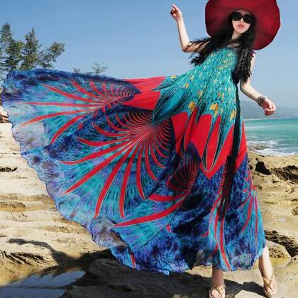 bohemian chiffon dress women summer..
