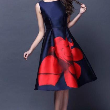 Elegant Vintage Design Rose Dress